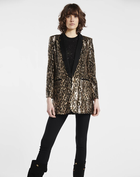 Sequinned tiger-print jacket - Noir / gold