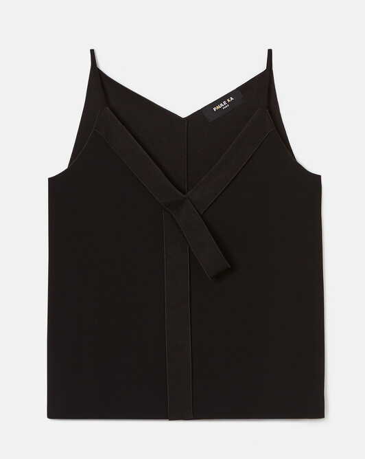 Satin-back crepe tank top - Noir