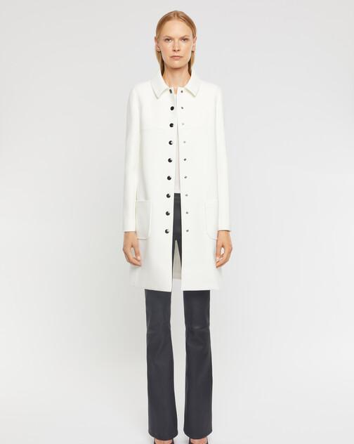 Manteau ajusté boutonné en tricotine stretch