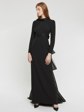 Satin-back crepe and silk organza gown - Noir