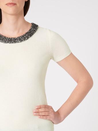 Pull en laine et cachemire - Blanc casse / noir