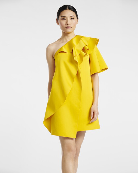 Leather-satin fabric dress - Jaune