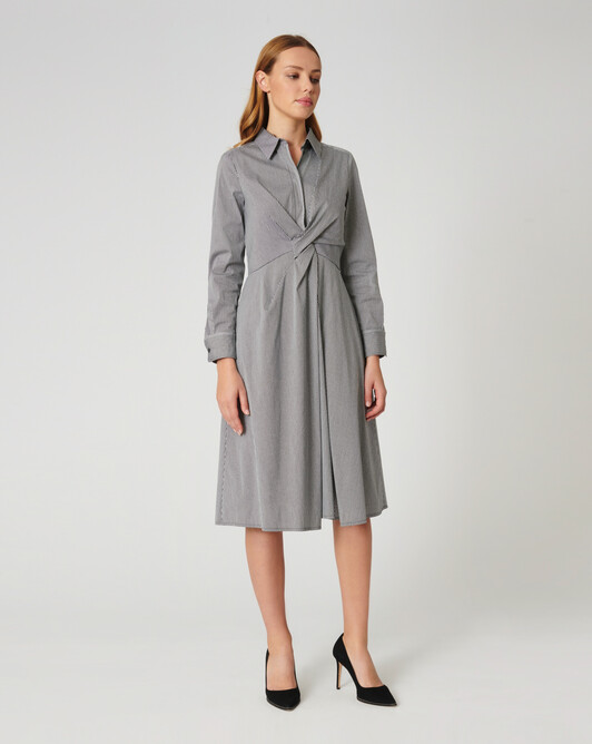 Gingham poplin dress - Noir / blanc