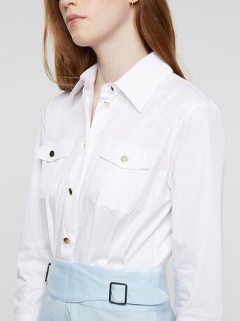 Robe en popeline satinée stretch - Blanc / atlas