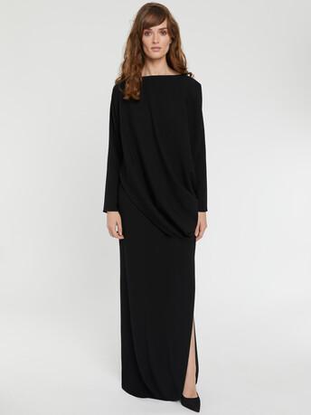 Robe longue drapée en crêpe envers satin - Noir