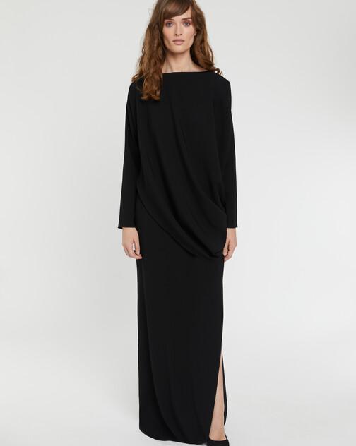 Robe longue drapée en crêpe envers satin
