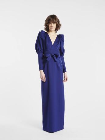 Robe en satin cuir - Bleu nuit