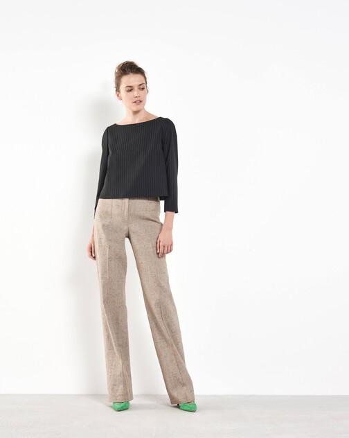 Pantalon droit en lin flammé