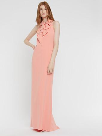 Robe longue en crêpe envers satin - Eau de rose