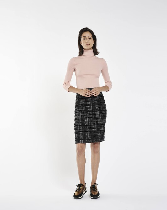 Lurex and velvet tweed skirt - Noir