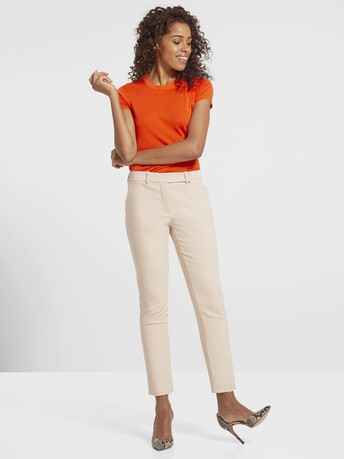 Stretch-cotton tricotine pants - Biscuit