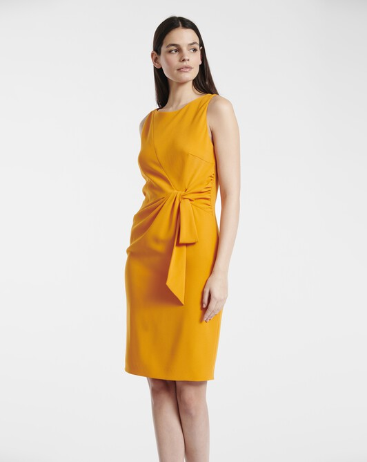 Satin-back crepe dress - Tangerine