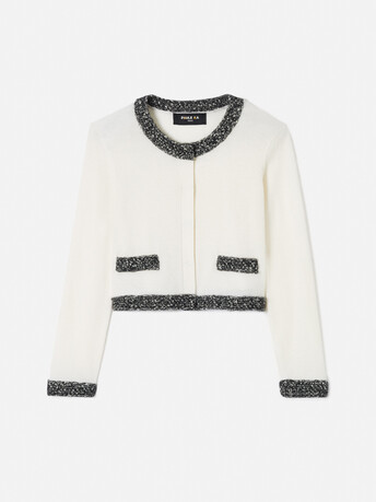 KNITTED CARDIGAN - Off white / black