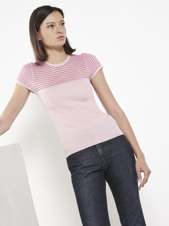 Pull en mérinos et viscose point fantaisie - Rose pale