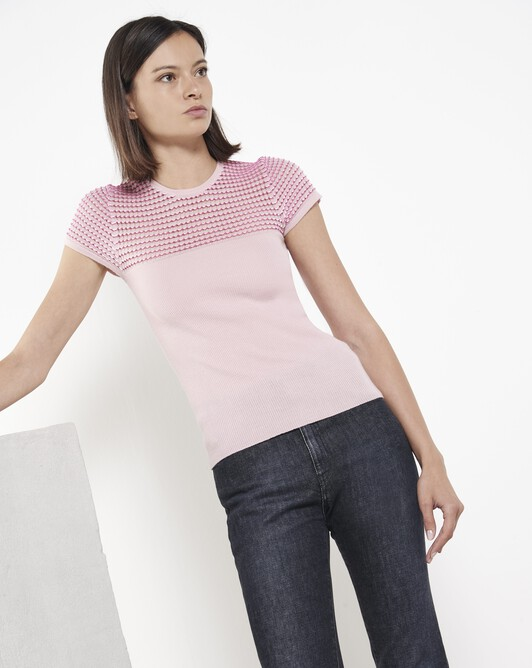 Merino and viscose sweater with fancy stitching - Rose pale