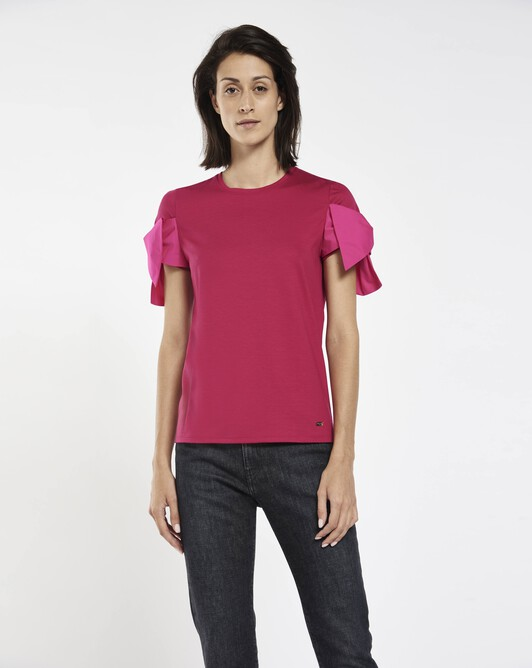 Stretch-cotton jersey t-shirt - Framboise