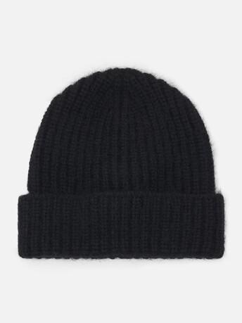 Alpaca, wool and cotton beanie - Noir