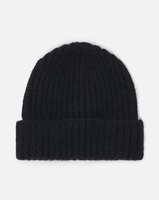 Alpaca, wool and cotton beanie - Noir