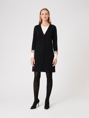 Wool and cashmere cardigan - Noir / cornaline