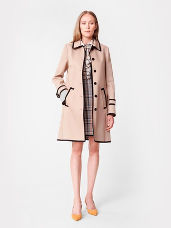Cotton tartan coat - Beige / multicolore