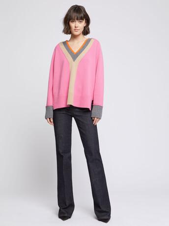 Pull large en laine et cachemire - Bubble gum
