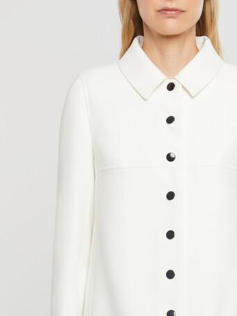 Manteau ajusté boutonné en tricotine stretch - Blanc casse