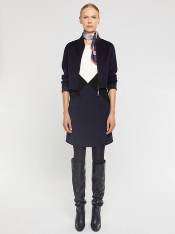 Satin-back crepe dress - Blanc casse / marine