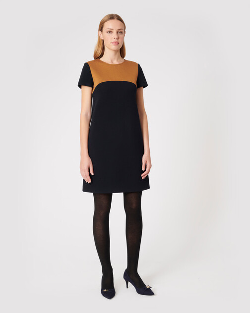 Two-tone serge dress