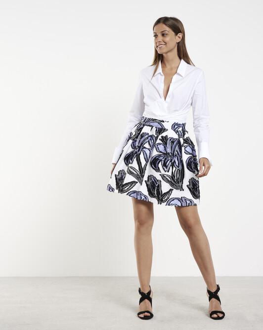 Jacquard skirt - Blanc / lavande
