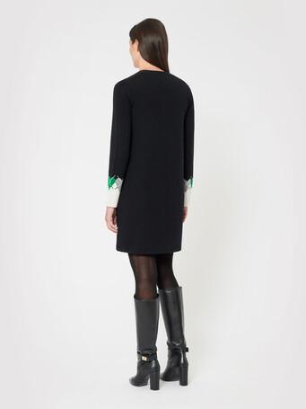 Wool and cashmere cardigan - Noir / emeraude