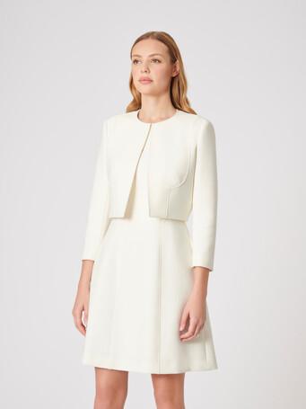 Veste en tricotine stretch - Blanc casse