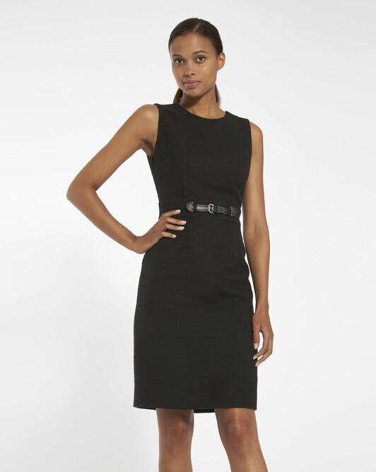 Dobby cotton dress - black