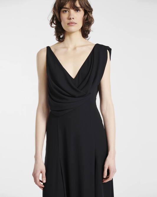 Dress in georgette crepe - Noir
