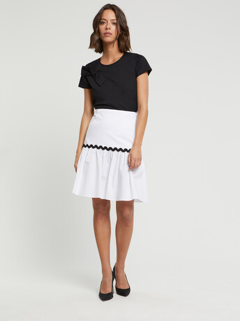 Stretch-satin poplin skirt - White