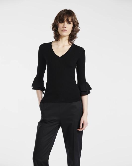 Sweater in bi-material merino wool - Noir