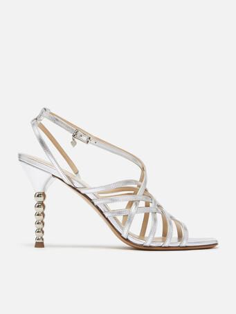 Sandales en cuir métallisé - Argent