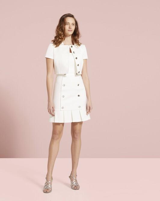 Veste en ottoman de coton stretch - Blanc casse