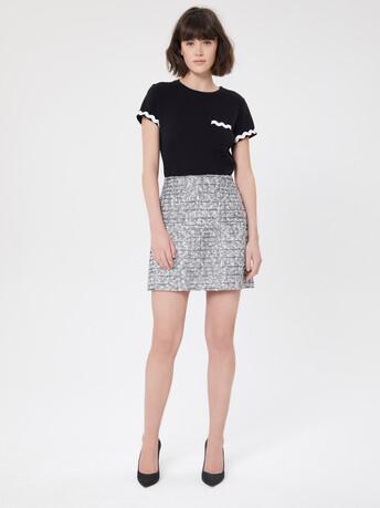 Jupe droite en tweed - Noir / blanc