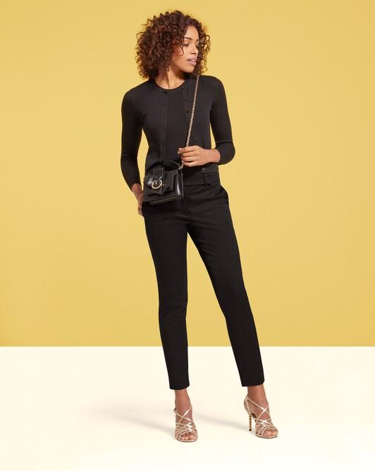 Pantalon en tricotine de coton stretch - Noir