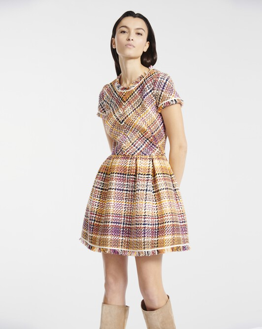 Dress in Prince of Wales checked cotton - Jaune / rose