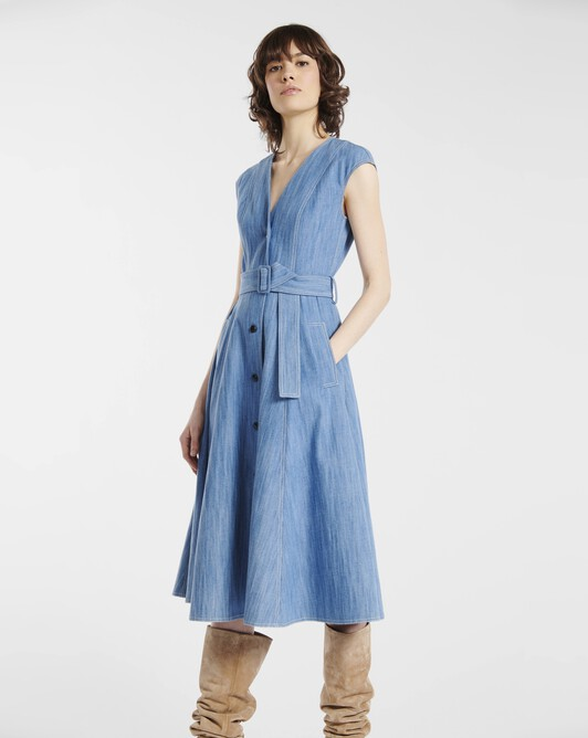 Dress in washed denim - Blue