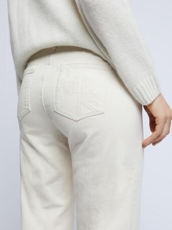 Flared stretch-cotton jeans - Ecru