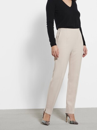 Stretch tricotine trousers - Mastic