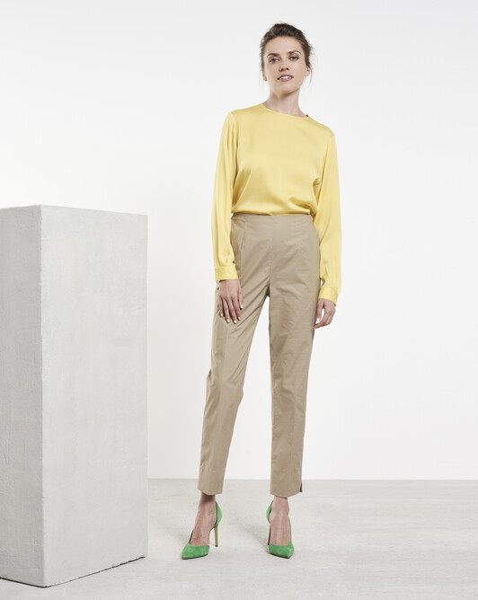 Stretch cotton poplin trousers - Beige