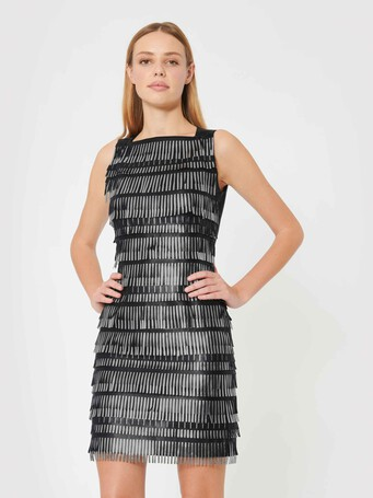Short dress in fringed lambskin leather - Noir / silver
