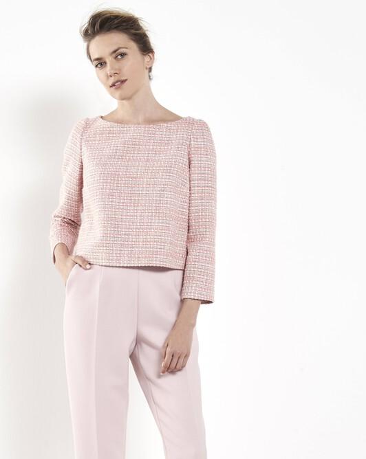 Haut en tweed tressé - Pivoine