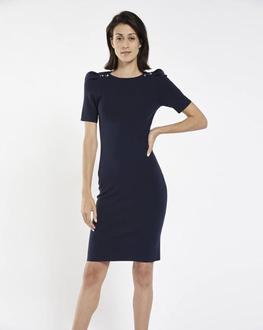 Matte viscose dress - Navy blue