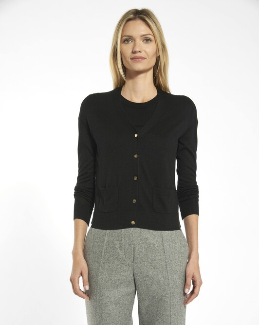Cardigan in cashmere silk - Noir