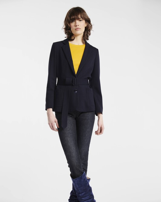Jacket in milano - Navy blue