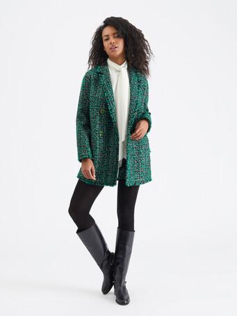 Veste en tweed bicolore - Noir / emeraude